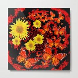 Lemon Yellow Sunflowers Monarch Butterflies Pattern Art Metal Print
