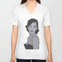 emma watson V-neck T-shirts featuring Emma Watson Portrait by IgnacioCórdoba