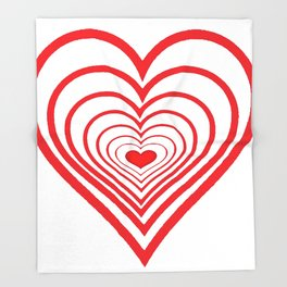 RED VALENTINES HEARTS IN HEARTS ART Throw Blanket