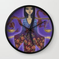 libra Wall Clocks featuring Libra by Artist Andrea