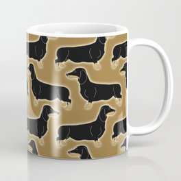 Cute pattern of miniature dachshund dogs in classic colors of black and tan Coffee Mug