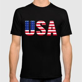 United States Font with American Flag T-shirt