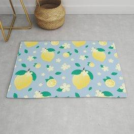 Lemon Flower Pattern // Blue Citrus Fruit Pattern Rug