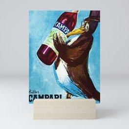 Vintage Blue Bitter Campari 'Penguin' Aperitif Lithograph Advertisement Poster Mini Art Print