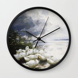 Alexander Max Koester - Ducks At The Lake S Edge Wall Clock