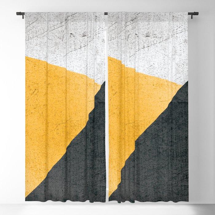 Modern Yellow & Black Geometric Blackout Curtain