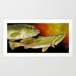 Triple Trout Art Print