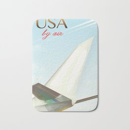USA By Air vintage travel poster Bath Mat