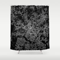 manchester Shower Curtains featuring Manchester  by Line Line Lines