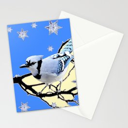 BLUE JAY DESIGN IN YELLOW-BLUE SNOWFLAKES ART Stationery Cards