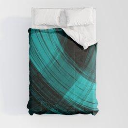 Iridescent arcs of ultramarine curtains of hanging flowing lines on velvet fabric. Comforters