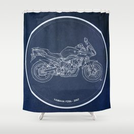 Yamaha FZ6b 2007 art print and motorcycle quote, gift for men Shower Curtain