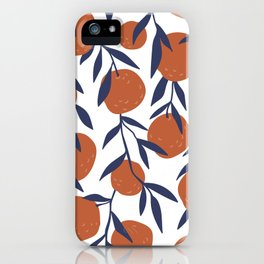 Fun Cute Oranges With Blue Leaves Pattern iPhone Case