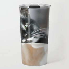 Black Cat Chilling Travel Mug