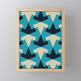 Geometric pattern summer blue invert Framed Mini Art Print