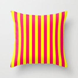 Super Bright Neon Pink and Yellow Vertical Beach Hut Stripes Throw Pillow