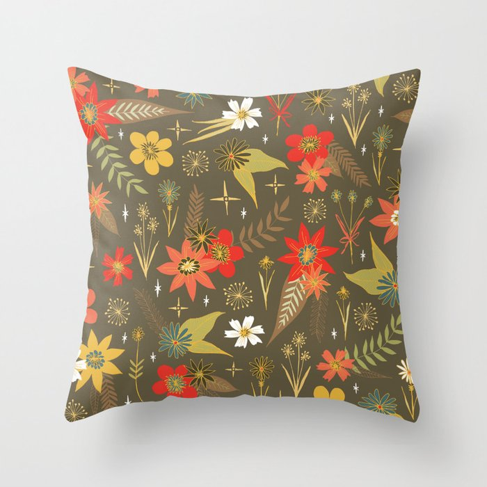 retro floral in funky colors Throw Pillow