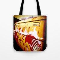volkswagen Tote Bags featuring Volkswagen 99 by Justin Alan Casey