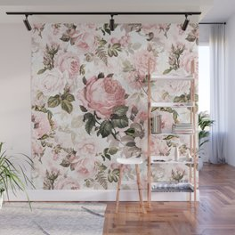 Vintage & Shabby Chic - Sepia Pink Roses Wall Mural