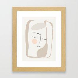 Dreaming Girl Portrait #minimalart Framed Art Print