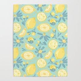 Lemon Pattern Mint Poster