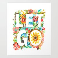 let it go Art Prints featuring Let Go by Katie Daisy