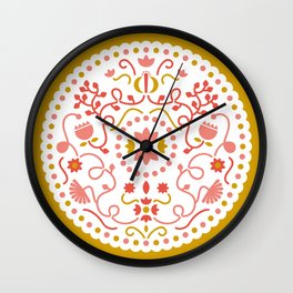 mustard illustration Wall Clock