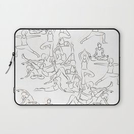 Yoga Asanas black on white Laptop Sleeve