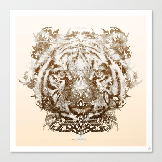 The White Tiger (Gold Version) Canvas Print