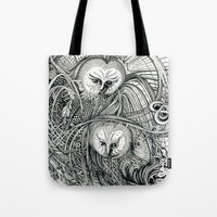 owls Tote Bags featuring Owls by Irina Vinnik