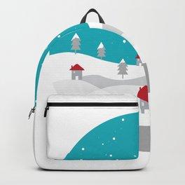 Xmas Winter White Christmas Scene, beautiful landscape winter Backpack