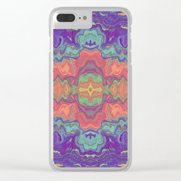 Sunset Colors Abstract Watercolor Marble Clear iPhone Case