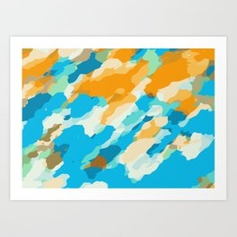 blue orange and brown dirty painting abstract background Art Print