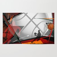 basketball Area & Throw Rugs featuring Basketball by Robin Curtiss