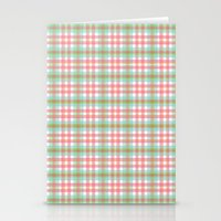 preppy Stationery Cards featuring Preppy Plaid by Laura