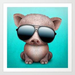 Baby Pig Wearing Sunglasses Art Print