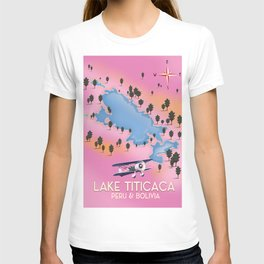 Lake Titicaca, Peru, Bolivia lake map travel poster. T-shirt