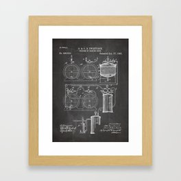 Brewery Patent - Beer Art - Black Chalkboard Framed Art Print