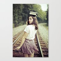 bookworm Canvas Prints featuring Bookworm by Kelly Is Nice