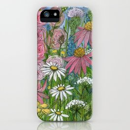 Floral Watercolor Garden Flowers Vibrant Colors Prints For Sale iPhone Case