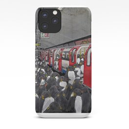 Penguins on the London Underground iPhone Case