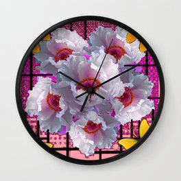 BUTTERFLIES MODERN WHITE TREE PEONY FLOWERS CORAL ART Wall Clock