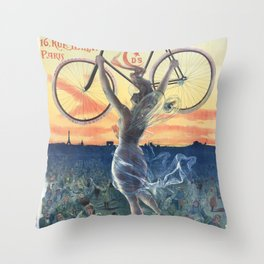 Vintage French Bicycle Poster 1898 Throw Pillow