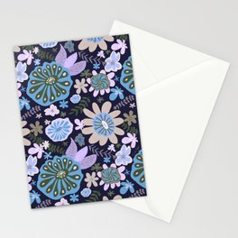 Playful Flowers Pale Blue and Purple Stationery Cards