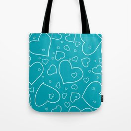 Turquoise and White Hand Drawn Hearts Pattern Tote Bag
