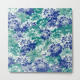 marguerites and chrysanthemums in blues Metal Print