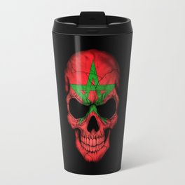Dark Skull with Flag of Morocco Travel Mug