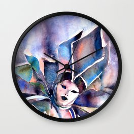 Watercolor painting of  masked person during Carnival in Venice, Italy. Wall Clock