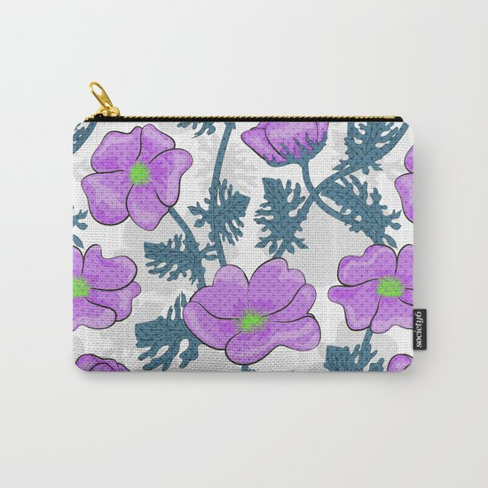 Flowers pink on white background. Carry-All Pouch
