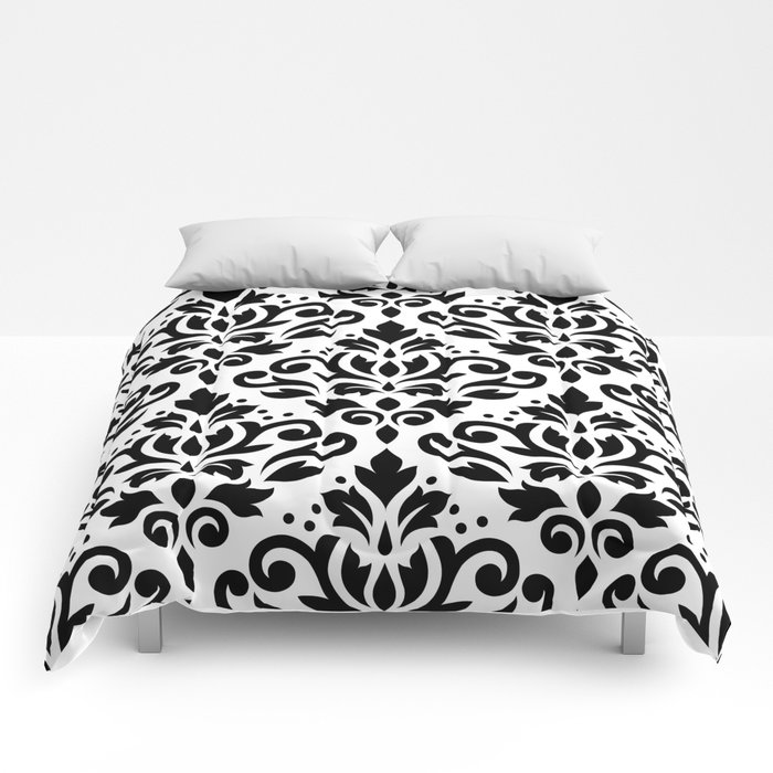 Scroll Damask Pattern Black On White Comforters